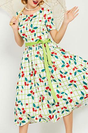 Plaid Scoop Lace-up Dress