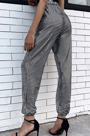 Plaid Sequin Tapered Pants