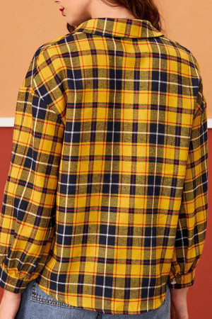 Plaid   Single  Breasted  Shirt