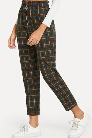 Plaid Zip Casual Pants