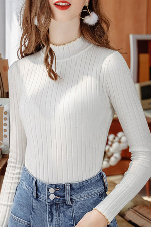 Plain High Neck Knit Sweater
