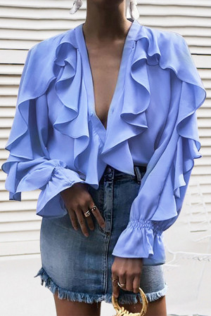 Plain Ruffled Chiffon Blouse