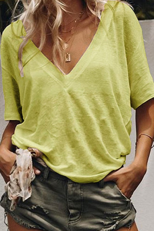 Plain V-neck Casual T-shirt
