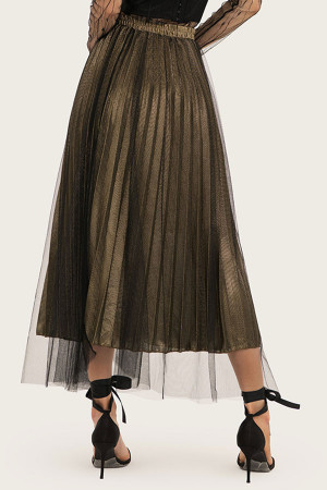 Pleated Tulle Long Skirt
