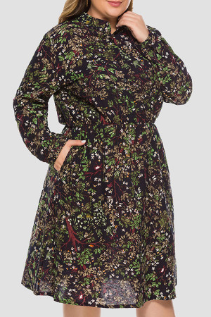 Plus Size Pockets Floral Dress