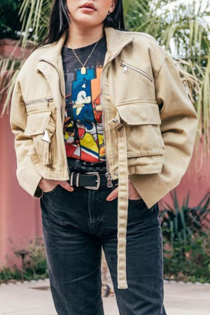 Patchwork Metal Buckle Jacket