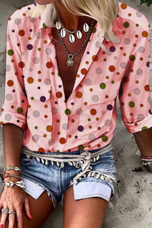 Pockets Polka Dot Blouse