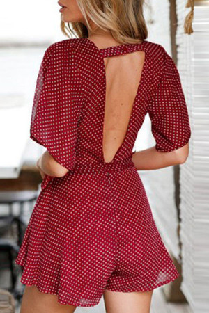 Polka Dot Backless Romper