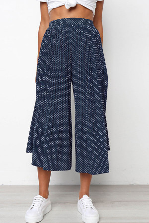 Polka Dot Pleated Crop Pants
