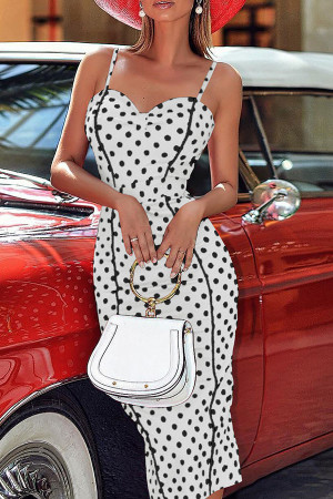 Polka Dot Slit Dress