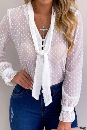 Polka Dot Tie Front Blouse