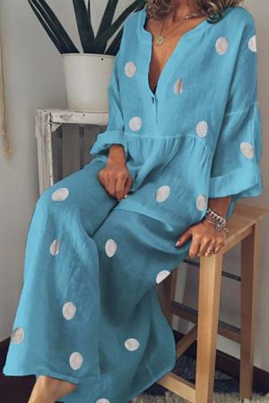 Polka Dot V-neck Ruffled Dress