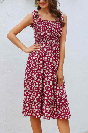 Print Knot Shoulder Ruffle Dress