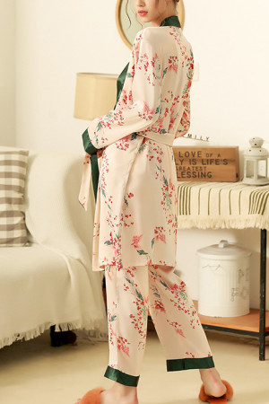 Print Belted Three-piece PJ Set