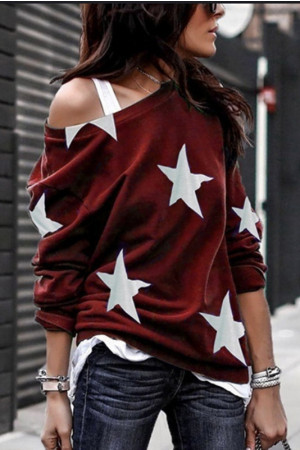 Print One-Shoulder Sweatshirt
