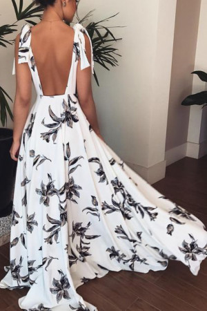 Print Open Back A-line Dress