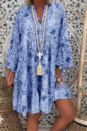 Print Ruffled Tunic Dress