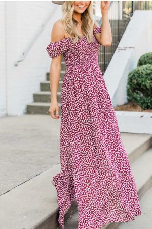 Print Slit Maxi Dress