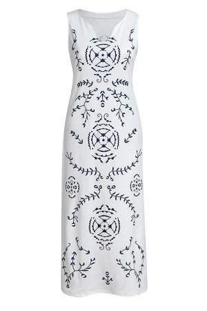 Print V-neck Slit Tunic Dress