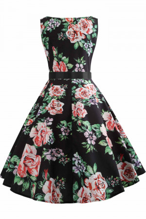 Vintage Floral Sleeveless Dress