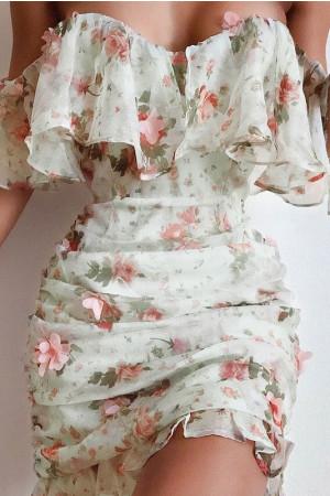 Printed Ruffles Bodycon Dress