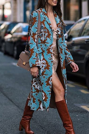 Printed Button Up Lapel Coat