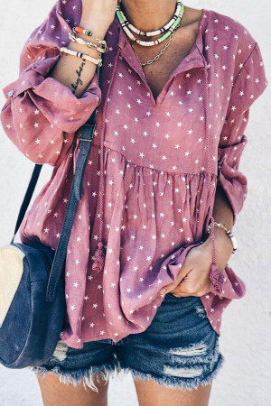 Printed Drawstring V-neck Blouse