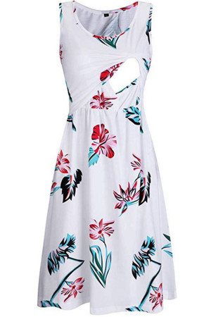 Printed Sleeveless Maternity Dress