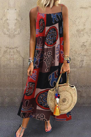 Vintage Printed Sleeveless Maxi Dress