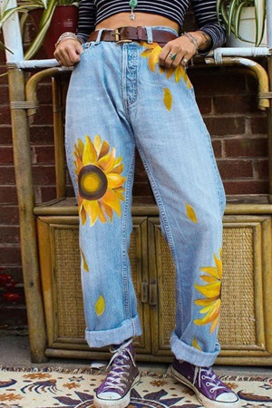 Printed Straight Roll Up Jeans