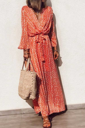 Printed V-neck Lace-up Dress