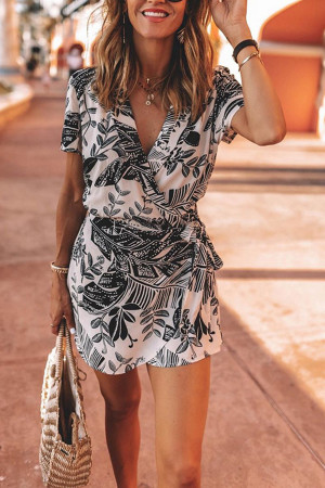 Printed V-neck Lace-up Romper