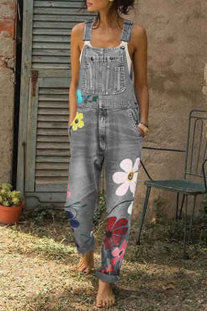 Printed Wash Denim Jumpsuit