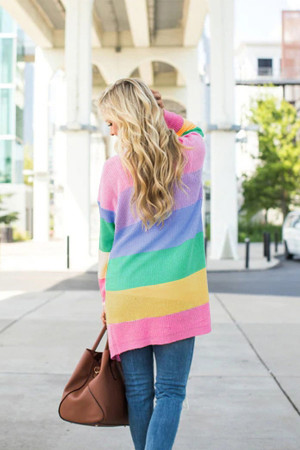 Rainbow-clashing Striped Knitwear Cardigan