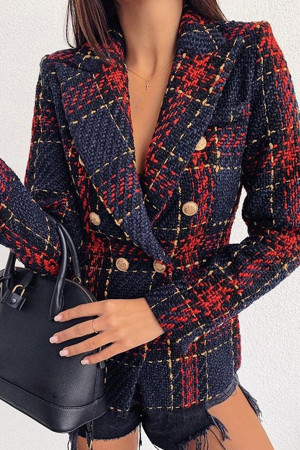 Red Buttoned Up Blazer