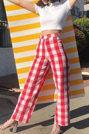 Red Gingham Zipper Pants