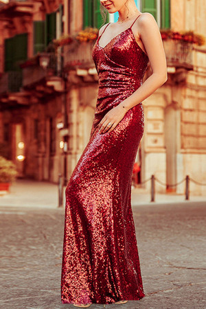 Red Spaghetti Straps Sequin Dress