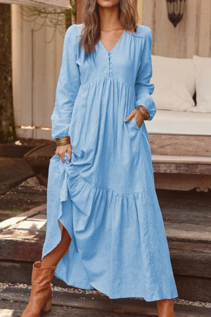 Retro V-neck Ruffle Long Dress