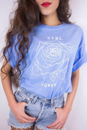 Rose Print Round Neck T-shirt