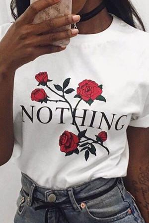 Rose Print Short Sleeve T-shirt