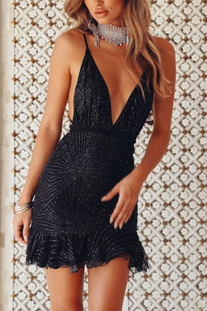 Ruffle Backless Sequin Dress