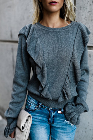 Ruffled Flare-sleeve Blouse