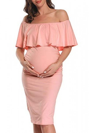 Ruffled Maternity Midi Dress