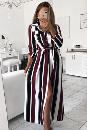 Sashes Striped Shirt Dress