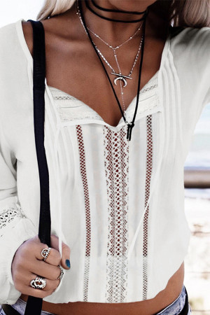 Sashes V-neck Lace Blouse