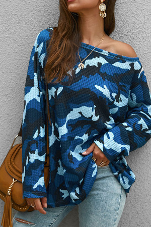 Scoop Camouflage Knit Sweatshirt