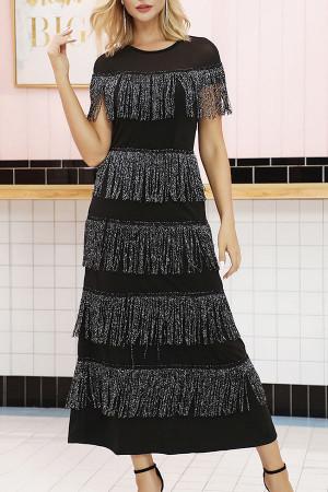 Scoop Layered Fringe Midi Dress