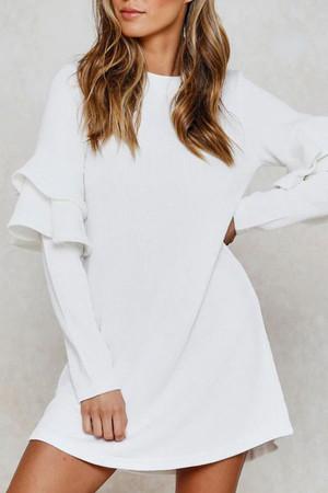 Scoop Ruffles Long Sleeves Dress
