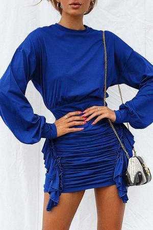 Scoop Solid Long Sleeves Dress