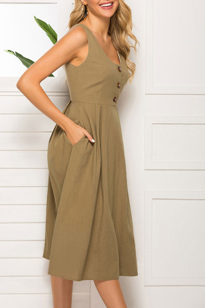 Scoop Zipper Sleeveless Dress